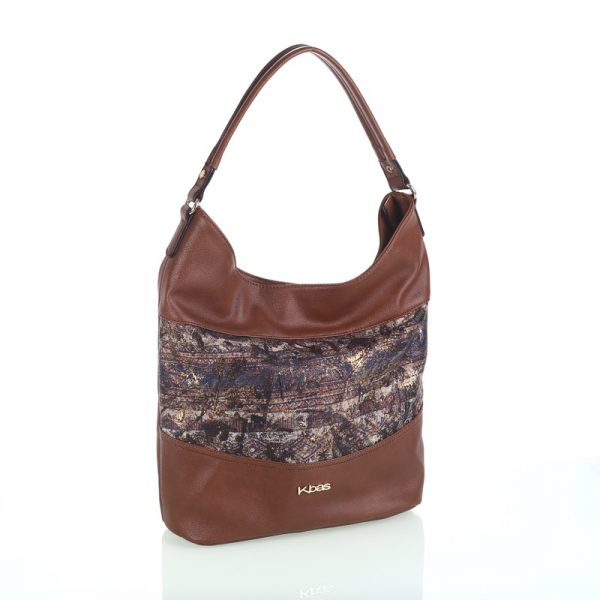 bolso tela estampada marron