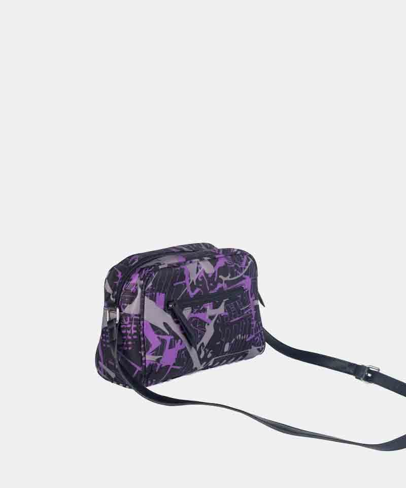Bandolera nylon estampada lila invierno