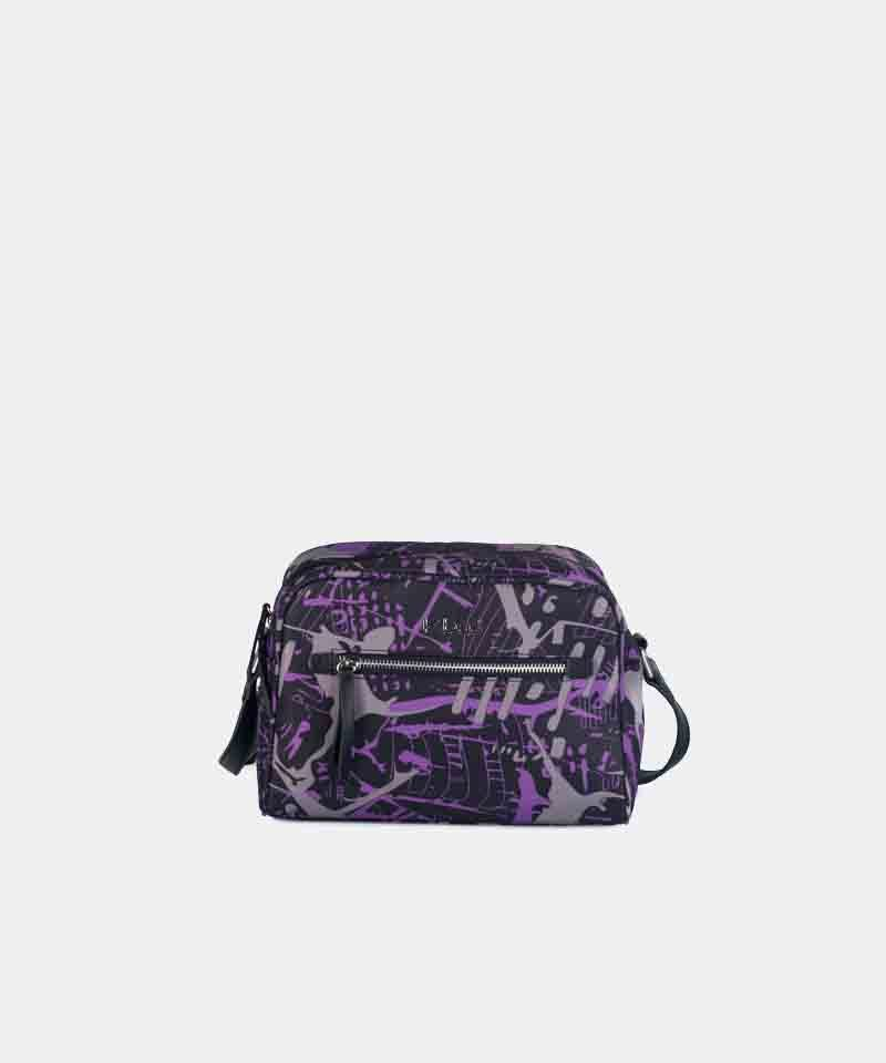 Bandolera nylon estampada lila kbas