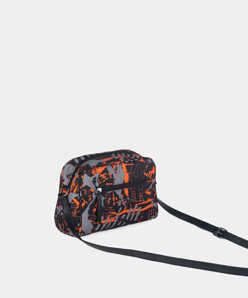 Bandolera nylon estampada naranja invierno