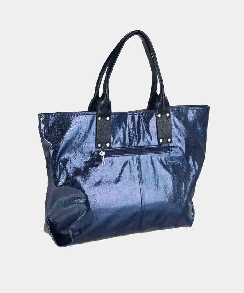 Bolso shopper azul plateado invierno