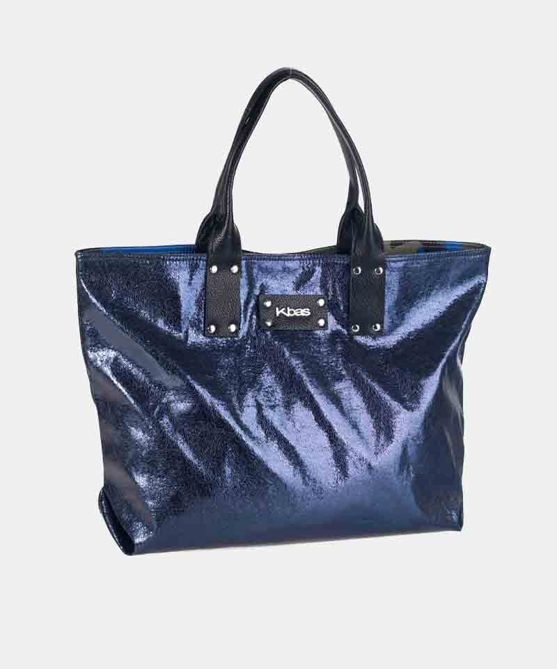 Bolso shopper azul plateado kbas