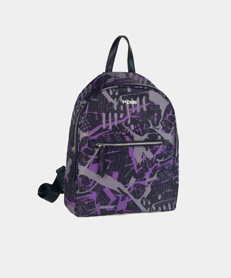 Mochila nylon estampada lila