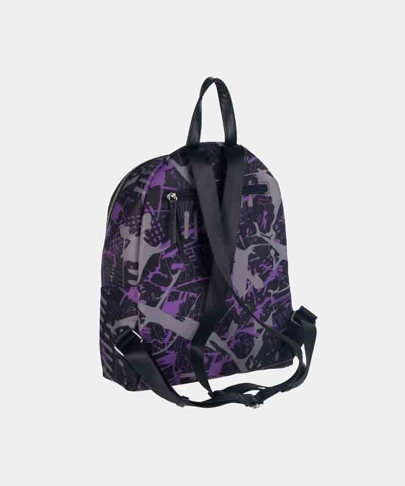 Mochila nylon estampada lila backpack