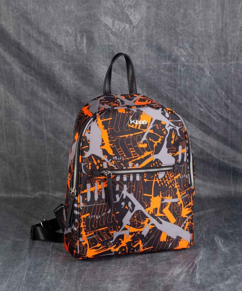 Mochila nylon estampada naranja