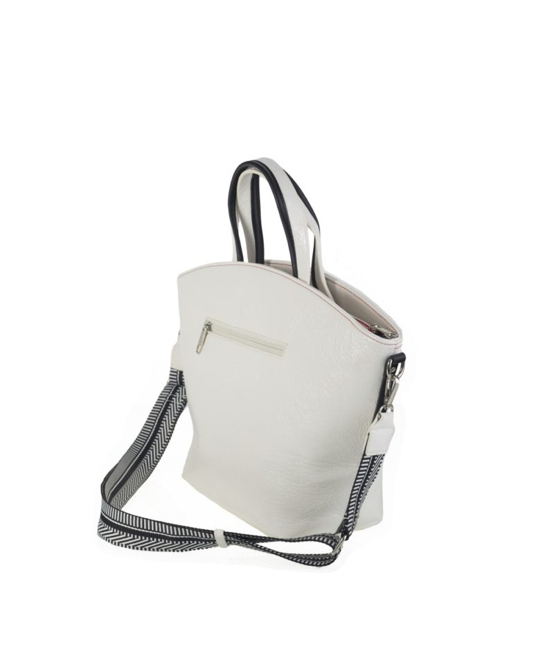 Capazo shopper bandolera blanco lateral