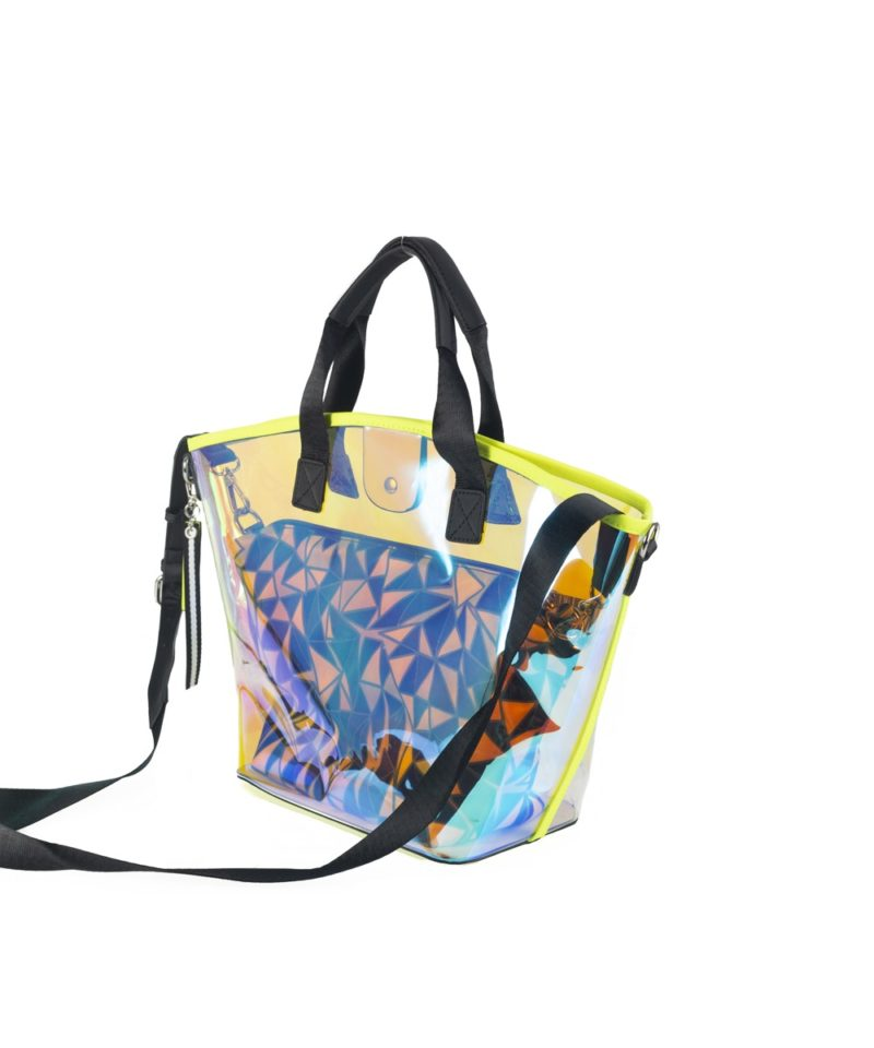 New now shopper transparente amarillo lateral