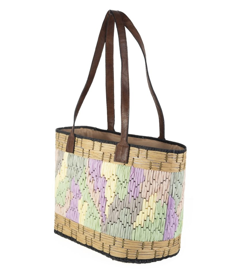 Shopper rafia tonos pastel lateral