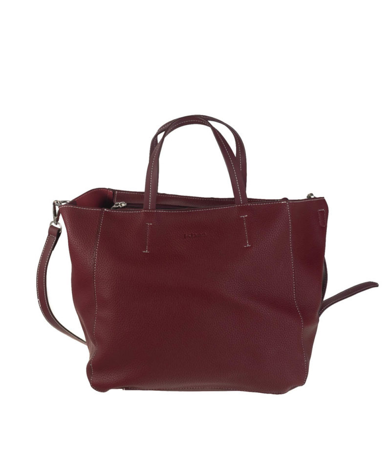 Bolso shopper bandolera granate